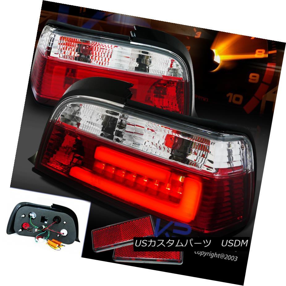 テールライト 3D LED Light Bar 92-98 BMW 325 328 Coupe Red Tail Lights Clear Brake Lamps E36 3D LEDライトバー92-98 BMW 325i 328iクーペレッドテールライトクリアブレーキランプE36