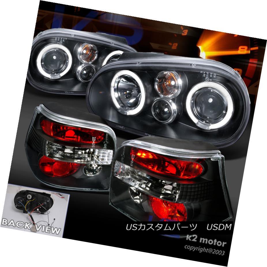 テールライト For 99-06 VW Golf MK4 Halo Projector Black Headlights+Tail Lights Brake Lamps 99-06 VWゴルフMK4ハロープロジェクター用ブラックヘッドライト+タイ lライティングブレーキランプ