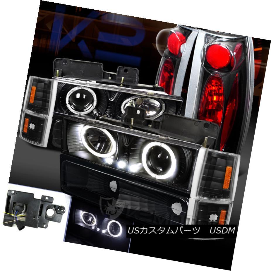 テールライト Black 94-98 Yukon Sierra Halo LED Pro Headlight+Tail Lamp+Bumper Corner Lights ブラック94-98ユーコンシエラハロLEDプロヘッドライト+テールランプ+バンパーコーナーライト