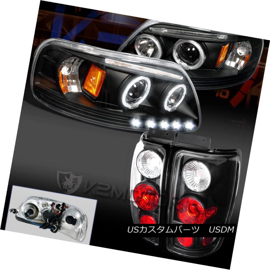 テールライト Ford 97-02 Expedition Black/Clear LED DRL Halo Projector Headlight+ Tail Lamp フォード97-02遠征黒/クリアLED DRLハロープロジェクターヘッドライト+テールランプ