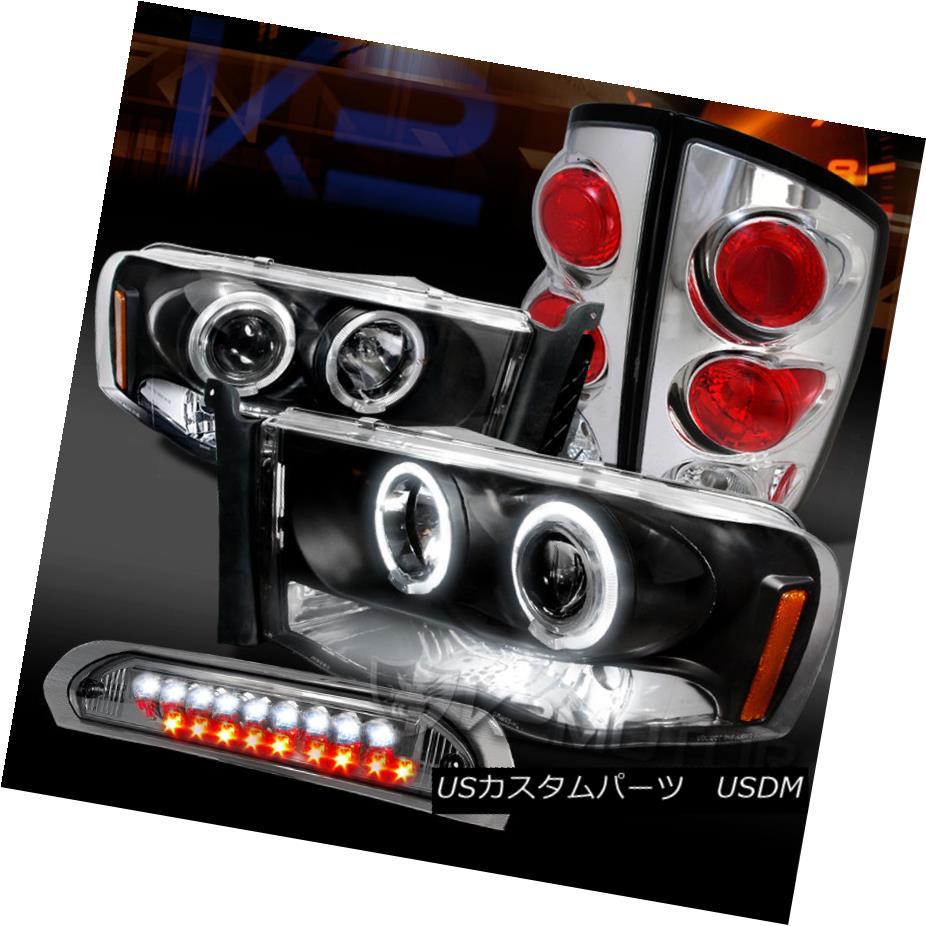 テールライト 02-05 Ram Black Halo Projector Headlights+Chrome Tail Lamps+Smoke LED 3rd Brake 02-05 Ram Black Haloプロジェクターヘッドライト+ Chr omeテールランプ+ Smoke LED 3rdブレーキ