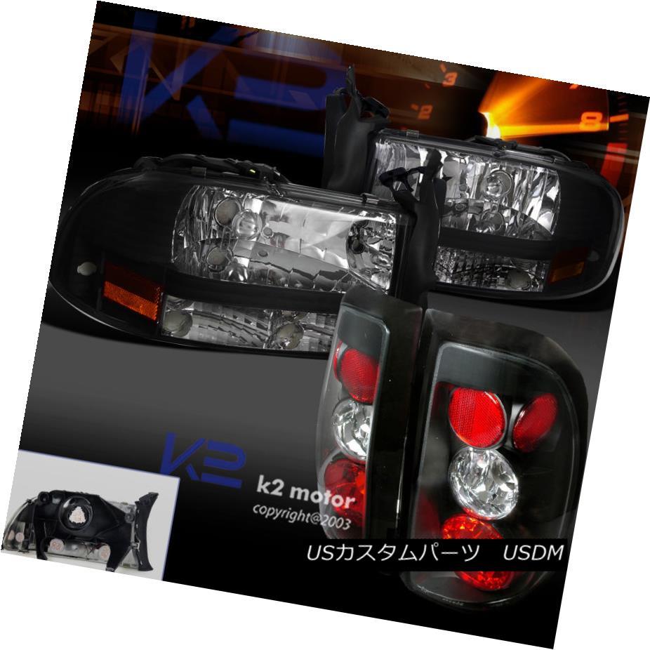 テールライト Black 97-04 Dodge Dakota Headlights+Tail Lights Replacement LH RH Pair ブラック97-04ダッジダコタヘッドライト+タイ lライト交換LH RHペア