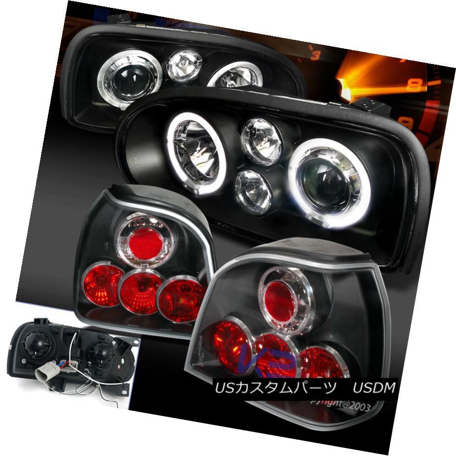 テールライト For 93-98 Golf GTI/Gl/Cl MK3 Halo Projector Headlight Black+Tail Lights 93-98ゴルフGTI / G1 / C1 MK3ハロープロジェクターヘッドライトブラック+テールライト用