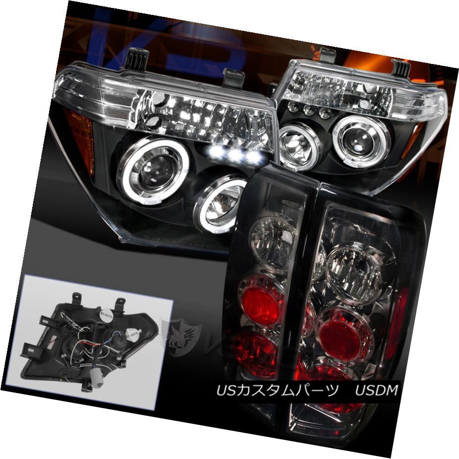 テールライト Black Projector LED Halo Headlight+Tail Lamp Smoked For 05-08 Nissan Frontier ブラックプロジェクターLEDハローヘッドライト+テールランプ05-08日産フロンティア