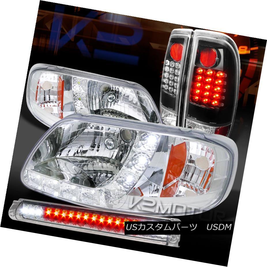 テールライト 97-03 F150 Chrome SMD DRL Headlights+LED 3rd Brake+Black LED Tail Lamps 97-03 F150クロムSMD DRLヘッドライト+ LED第3ブレーキ+ブラックLEDテールランプ