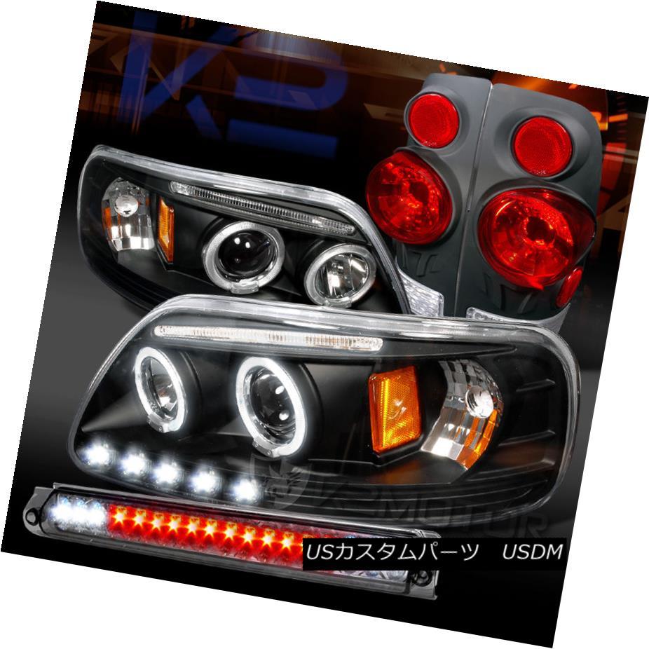 テールライト 97-03 F150 Black Halo LED Projector Headlights+Tail Lamps+Smoke LED 3rd Brake 97-03 F150ブラックハローLEDプロジェクターヘッドライト+タイ lランプ+スモークLED第3ブレーキ