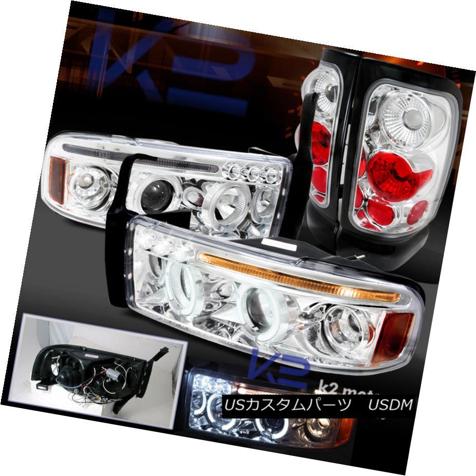 テールライト 94-01 Ram 1500 2500 3500 Dual Halo Projector LED Headlights+Clear Tail Lamps 94-01 Ram 1500 2500 3500デュアル・ハロー・プロジェクターLEDヘッドライト+ Cle arテールランプ