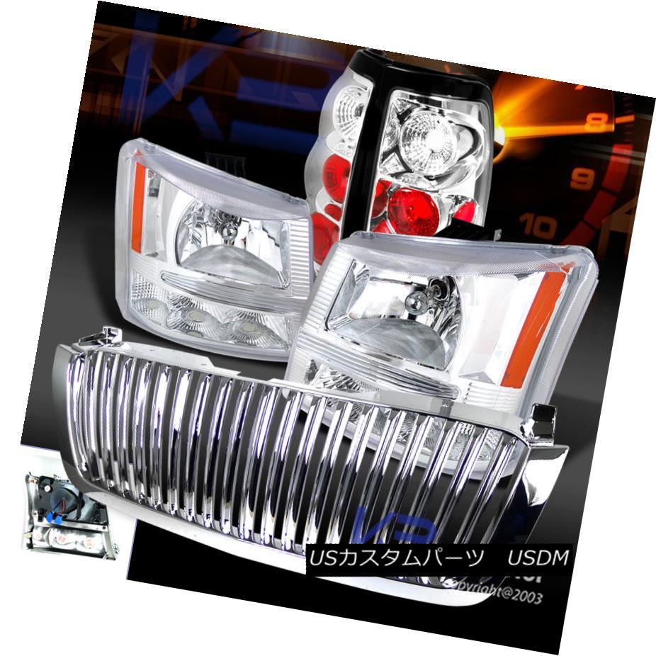 テールライト 03-05 Silverado 1PC Chrome Crystal Headlights+Bumper+Hood Grille+Tail Light 03-05 Silverado 1PCクロームクリスタルヘッドライト+ブーケ +フードグリル+テールライト