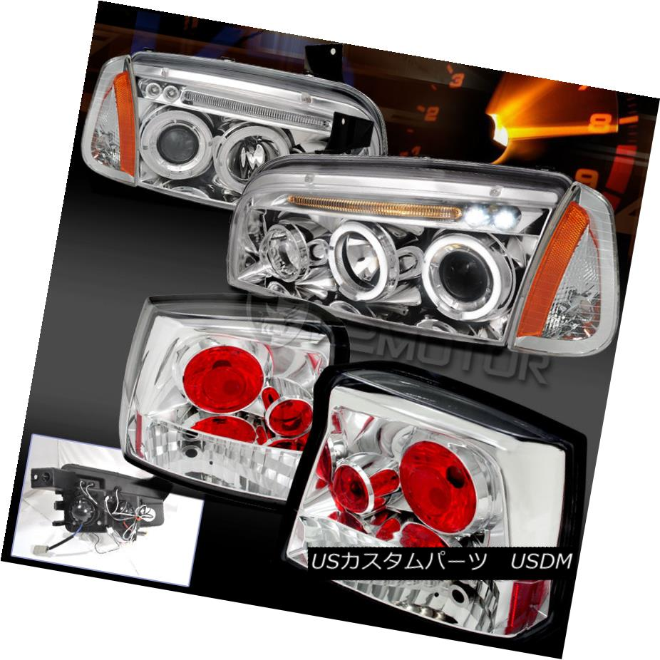 テールライト Chrome 06-08 Charger Halo Projector LED DRL Headlights+Corner+Tail Lamp Chrome 06-08充電器HaloプロジェクターLED DRLヘッドライト+ Cor ner +テールランプ