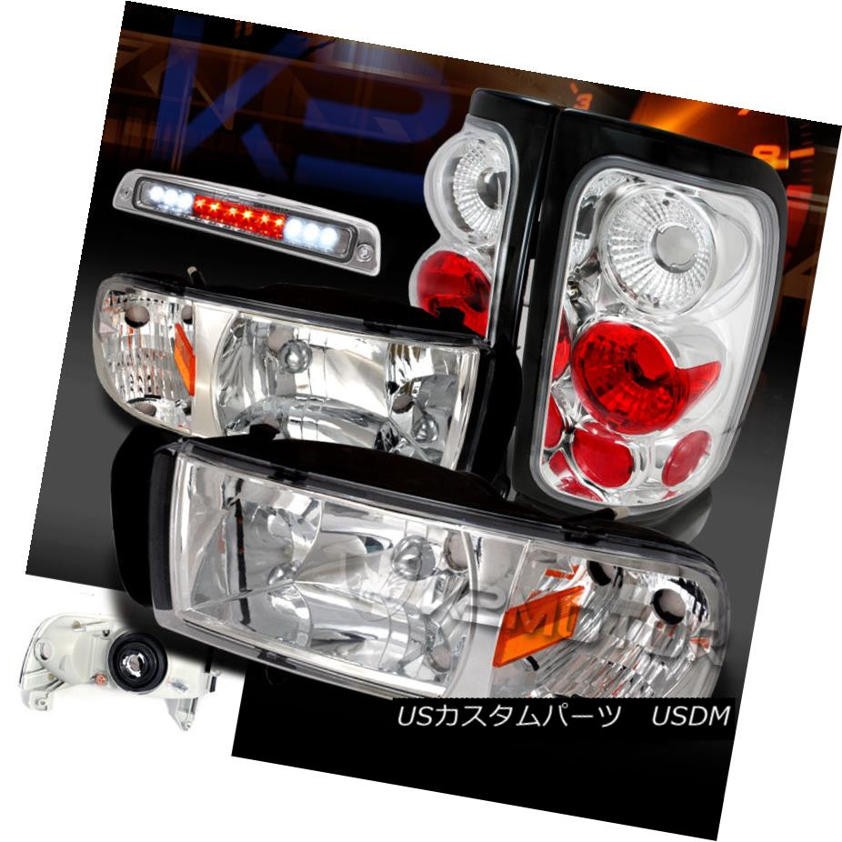 テールライト 94-01 Dodge Ram 1500/2500 Chrome Headlights+Clear Tail Lamps+LED 3rd Brake Light 94-01 Dodge Ram 1500/2500クロームヘッドライト+ Cle arテールランプ+ LED第3ブレーキライト