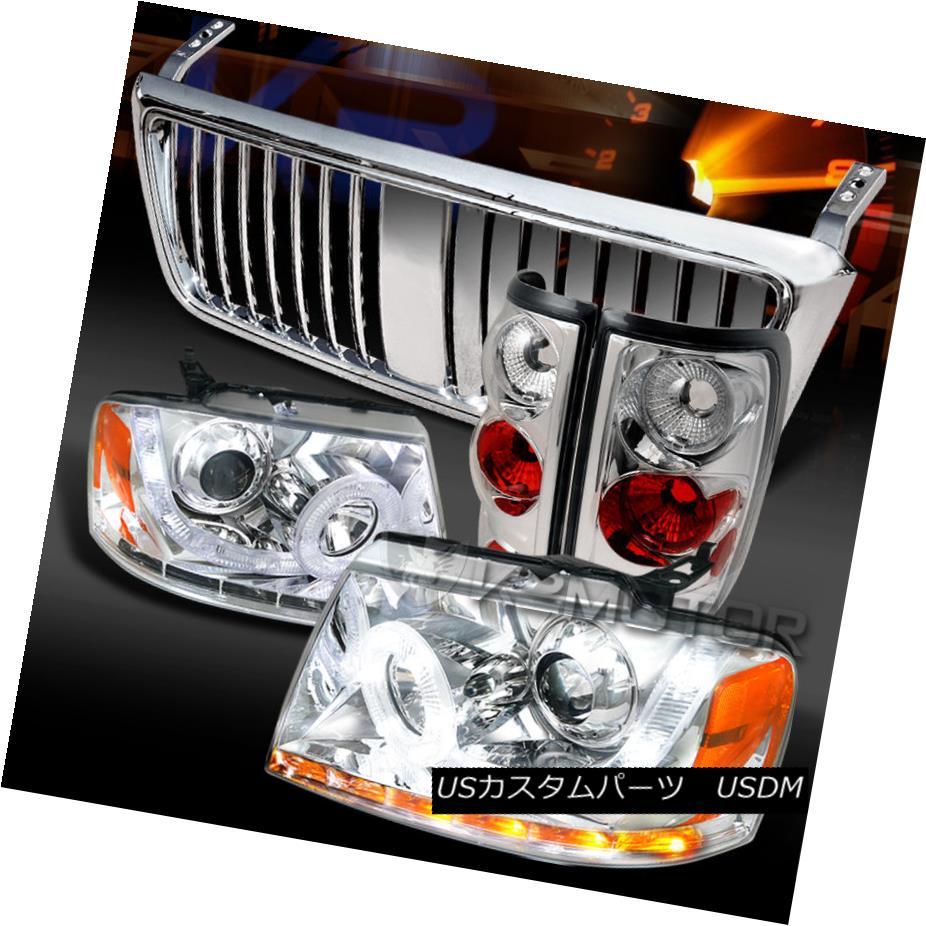 テールライト 04-08 F150 Chrome SMD LED Projector Headlights+Tail Lamps+Hood Grille 04-08 F150クロムSMD LEDプロジェクターヘッドライト+タイ lランプ+フードグリル