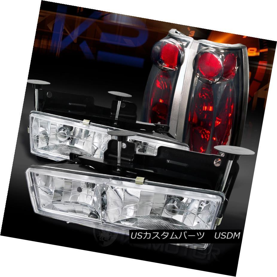 テールライト 88-98 Chevy/GMC C/K C10 Truck Chrome Headlights+Smoke Rear Tail Lamps 88-98 Chevy / GMC C / K C10トラッククロームヘッドライト+スモール keリアテールランプ