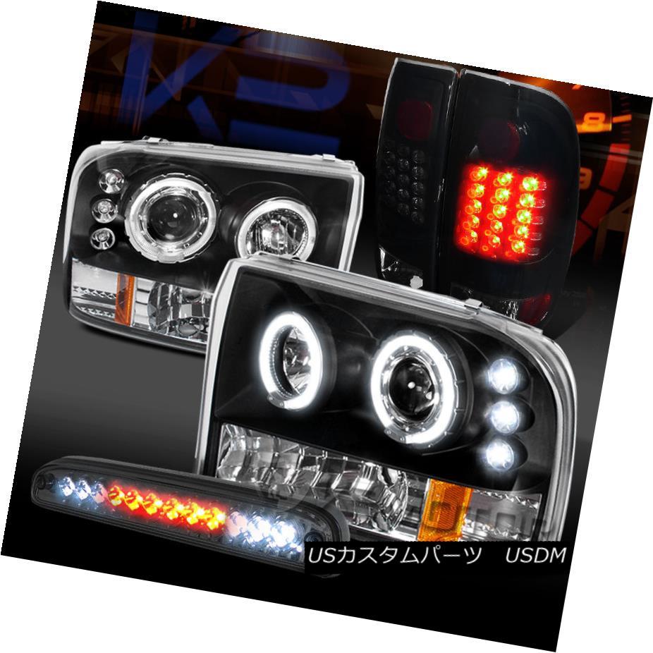 車用品 バイク用品 >> パーツ ライト ランプ 値引き テールライト 99-04 F250 Halo F250ハロープロジェクターヘッドライト+グロー LED Brake 3rd Headlights+Glossy Black Tail 希少 Lamps+Smoke ssyブラックテールランプ+スモークLED第3ブレーキ Projector