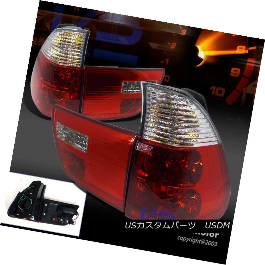 テールライト 2000-2005 BMW X5 Euro Red/Clear Lens Tail Brake Lights E53 2000-2005 BMW X5ユーロレッド/クリアレンズテールブレーキライトE53