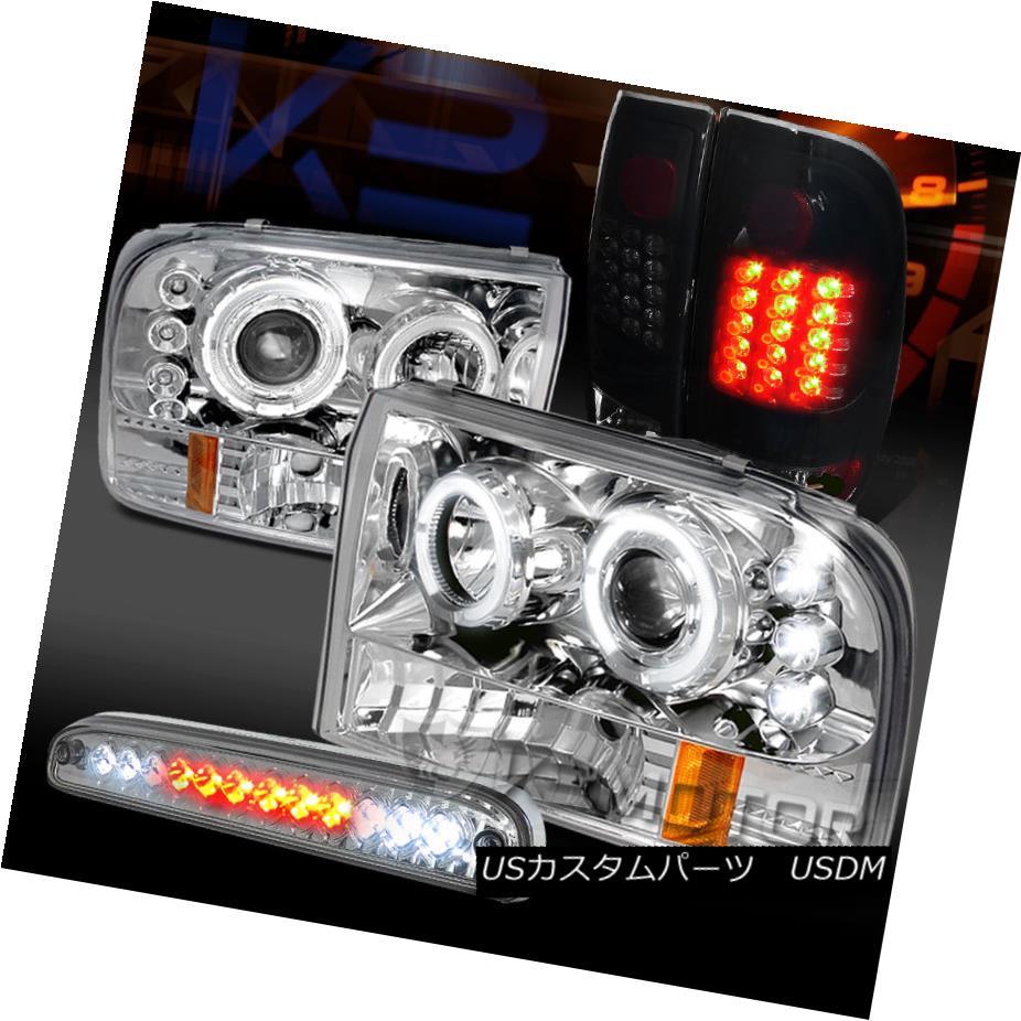 テールライト 99-04 F250 Chrome Halo Projector Headlights+Glossy Black Tail Lamp+LED 3rd Brake 99-04 F250クロームハロープロジェクターヘッドライト+グロー ssyブラックテールランプ+ LED第3ブレーキ