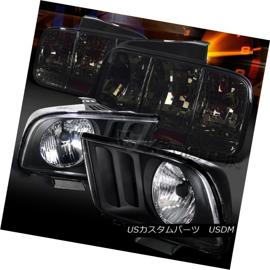 テールライト 05-09 Mustang Black Headlights+Smoke Sequential Turn Signal Tail Lights 05-09ムスタングブラックヘッドライト+スモーキー ke順方向ターンシグナルテールライト