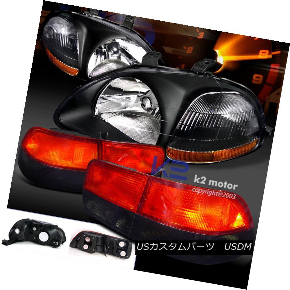 テールライト Fit 96-98 Civic Coupe 2Dr JDM Black Head Lights+Smoke & Red Tail Lamps Pair フィット96-98シビッククーペ2Dr JDMブラックヘッドライト+スモーク& レッドテールランプペア