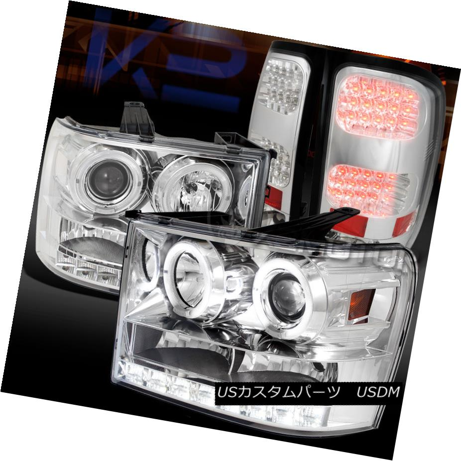 テールライト 07-14 GMC Sierra Chrome Halo Projector Headlights+Clear LED Tail Lamps 07-14 GMC Sierra Chrome Haloプロジェクターヘッドライト+ Cle ar LEDテールランプ