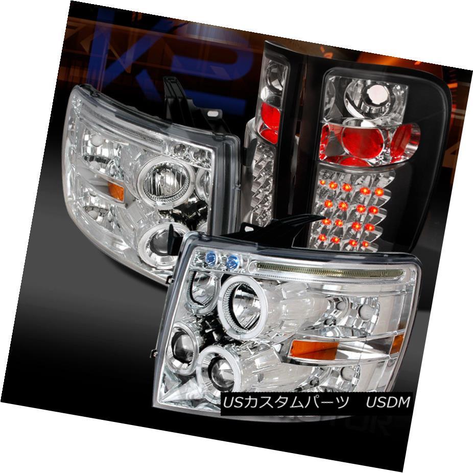 車用品 バイク用品 >> 情熱セール パーツ ライト ランプ テールライト 07-14 Chevy Silverado 正規店 1500 Chrome Projector LED LEDテールランプ Haloプロジェクターヘッドライト+ Tail Halo Headlights+Black ck Bla Lamps