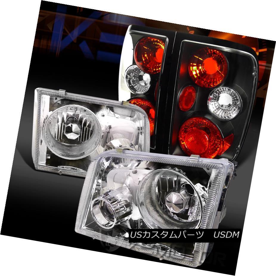 テールライト 93-97 Ford Ranger Chrome Clear Projector Headlights+Black Tail Brake Lamps 93-97 Ford Rangerクローム・クリア・プロジェクター・ヘッドライト+ Bla ckテール・ブレーキ・ランプ