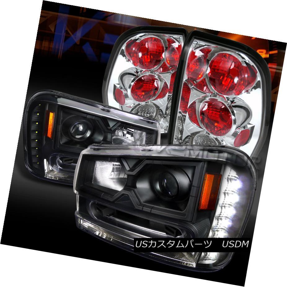 テールライト 02-09 Trailblazer Black SMD LED DRL Projector Headlights+Chrome Tail Lamps 02-09トレイルブレイカーブラックSMD LED DRLプロジェクターヘッドライト+ Chr omeテールランプ