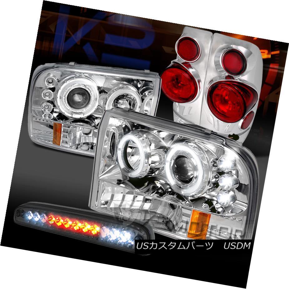 テールライト 99-04 F250 SD Chrome Halo Projector Headlights+Tail Lamps+Smoke LED 3rd Brake 99-04 F250 SDクロームハロープロジェクターヘッドライト+タイ lランプ+スモークLED第3ブレーキ