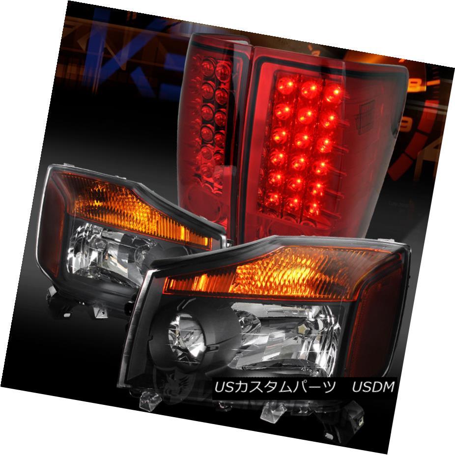 テールライト Fit 04-13 Titan Pickup Crystal Black Headlights+Red LED Tail Lamps フィット04-13タイタンピックアップクリスタルブラックヘッドライト+レッドLEDテールランプ