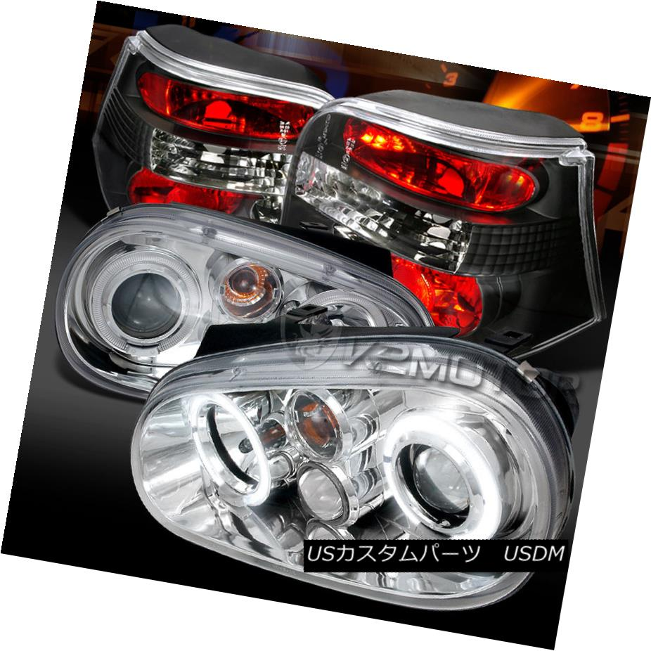 テールライト Fit 99-06 VW Golf Chrome Halo Projector Headlights+Black Tail Lamps フィット99-06 VWゴルフクロームハロープロジェクターヘッドライト+ Bla ckテールランプ