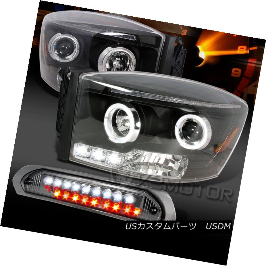 テールライト 06-08 Dodge Ram Black Halo LED Projector Headlights+Smoke LED 3rd Brake Lamp 06-08 Dodge Ram Black Halo LEDプロジェクターヘッドライト+ Smo ke LED 3rd Brake Lamp