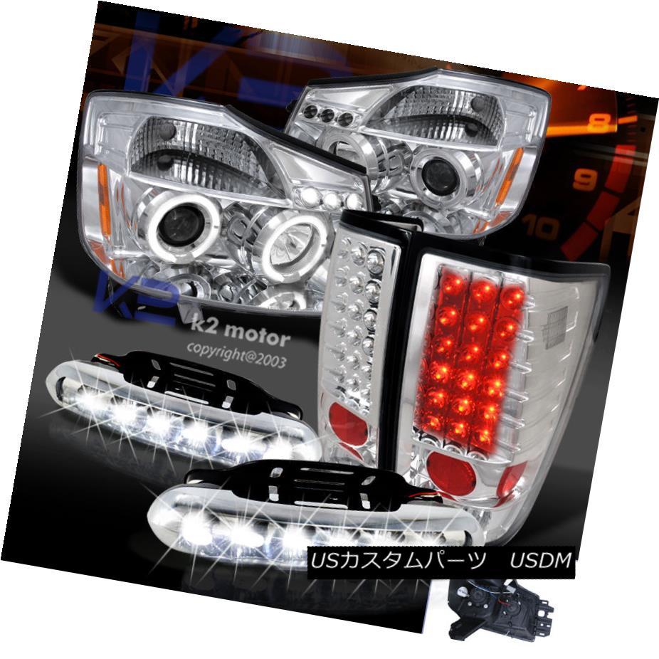 テールライト Clear Projector Headlights+Tail Lights+LED Fog Lamps For 04-13 Nissan Titan プロジェクターヘッドライト+タイ lライト+ LEDフォグランプ(04-13日産)