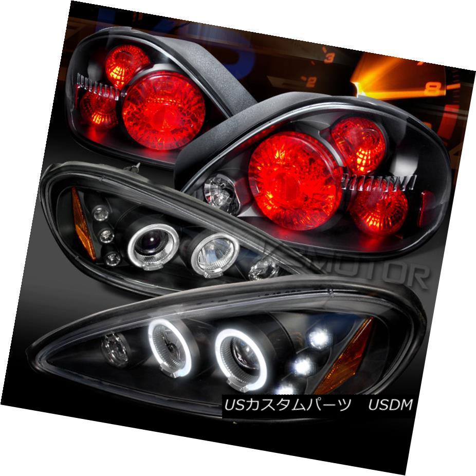テールライト 99-05 Pontiac Grand AM Black LED Halo Projector Headlights+Rear Tail Lamps 99-05ポンティアックグランドAMブラックLEDハロープロジェクターヘッドライト+リア rテールランプ