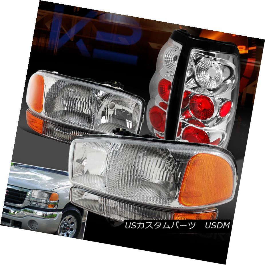 テールライト 2004-2006 GMC Sierra Chrome Clear Headlights Bumper Lights+Clear Tail Lights 2004-2006 GMC Sierra Chromeクリアヘッドライトバンパーライト+クリアテールライト