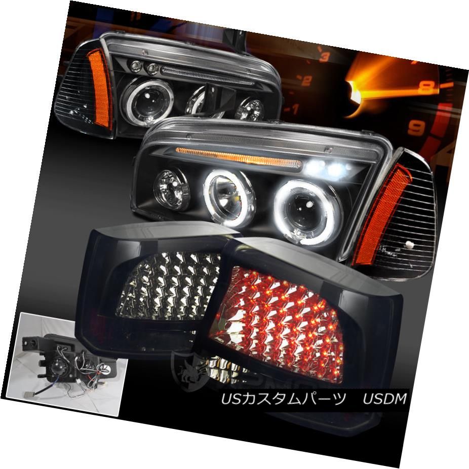 テールライト 06-08 CHARGER HALO PROJECTOR HEADLIGHT+CORNER LAMP+GLOSSY BLACK LED TAIL LIGHTS 06-08 CHARGERハロープロジェクターヘッドライト+コーナー ERランプ+グロスブラックLEDテールライト