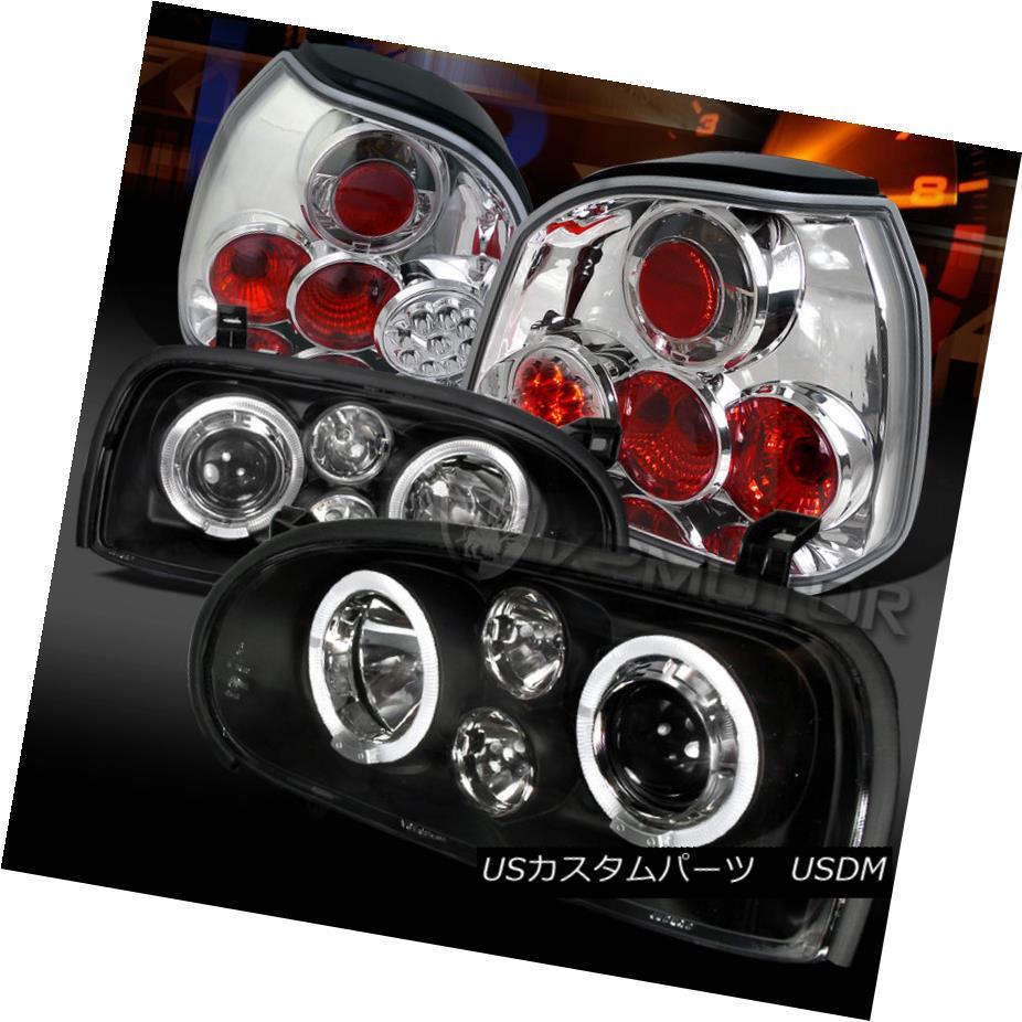 テールライト Fit 93-98 VW Golf MK3 Black Projector Headlights Fog DRL+Clear LED Tail Lamps フィット93-98 VWゴルフMK3ブラックプロジェクターヘッドライトフォグDRL +クリアLEDテールランプ