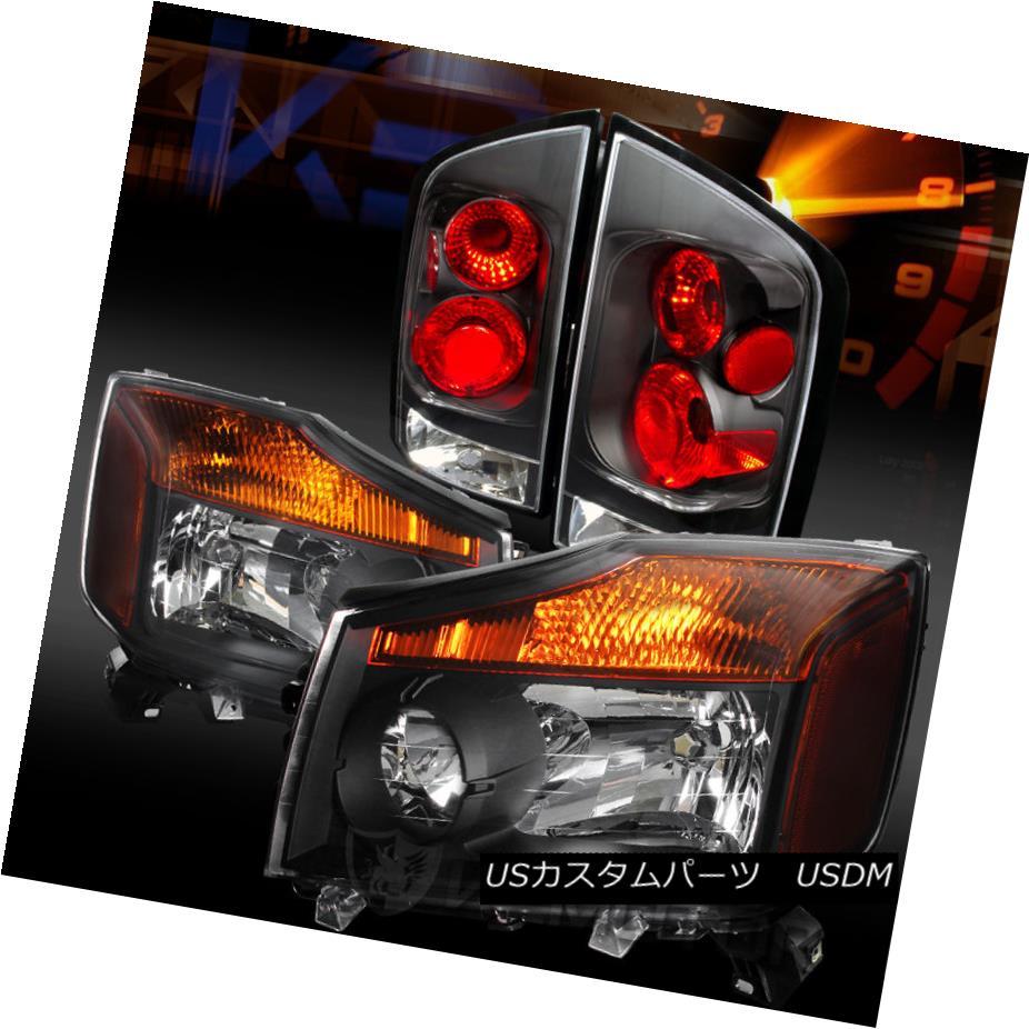 テールライト Fit 05-07 Armada Sport Utility Crystal Black Headlights+Black Tail Lamps フィット05-07アルマダスポーツユーティリティクリスタルブラックヘッドライト+ Bla ckテールランプ