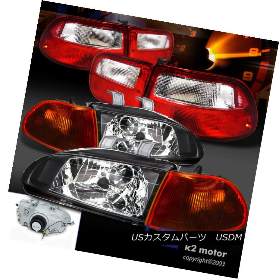 テールライト Fit 92-95 Civic 3Dr Black Headlight+Smoke Amber Corner Lamp+Red Tail Lamps フィット92-95シビック3Drブラックヘッドライト+スモーク eアンバーコーナーランプ+レッドテールランプ