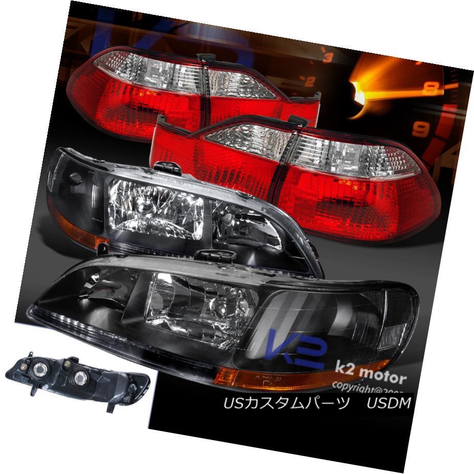 テールライト Fit 98-00 Accord 4Dr Sedan Black Headlights+Red/Clear Rear Tail Brake Lamps フィット98-00アコード4Drセダンブラックヘッドライト+レッド /クリアリアテールブレーキランプ