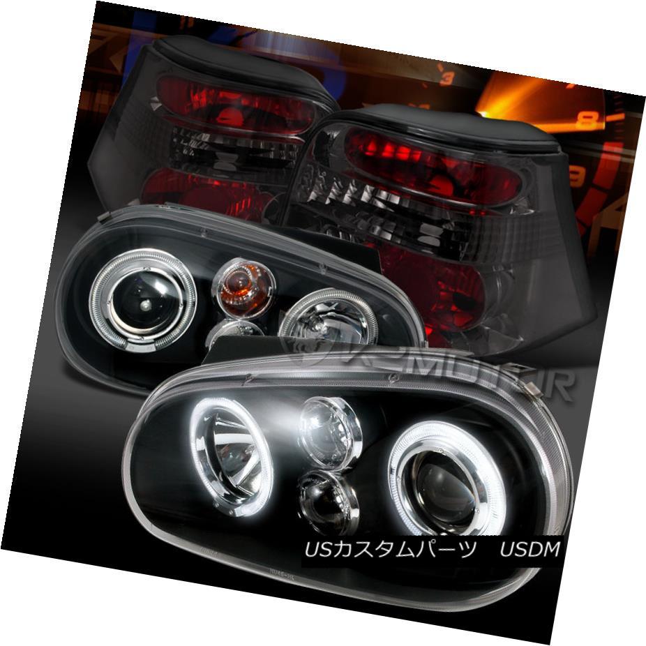 テールライト Fit 99-06 VW Golf Black Halo Projector Headlights+Smoke Tail Lamps フィット99-06 VWゴルフブラックハロープロジェクターヘッドライト+スモーキー keテールランプ