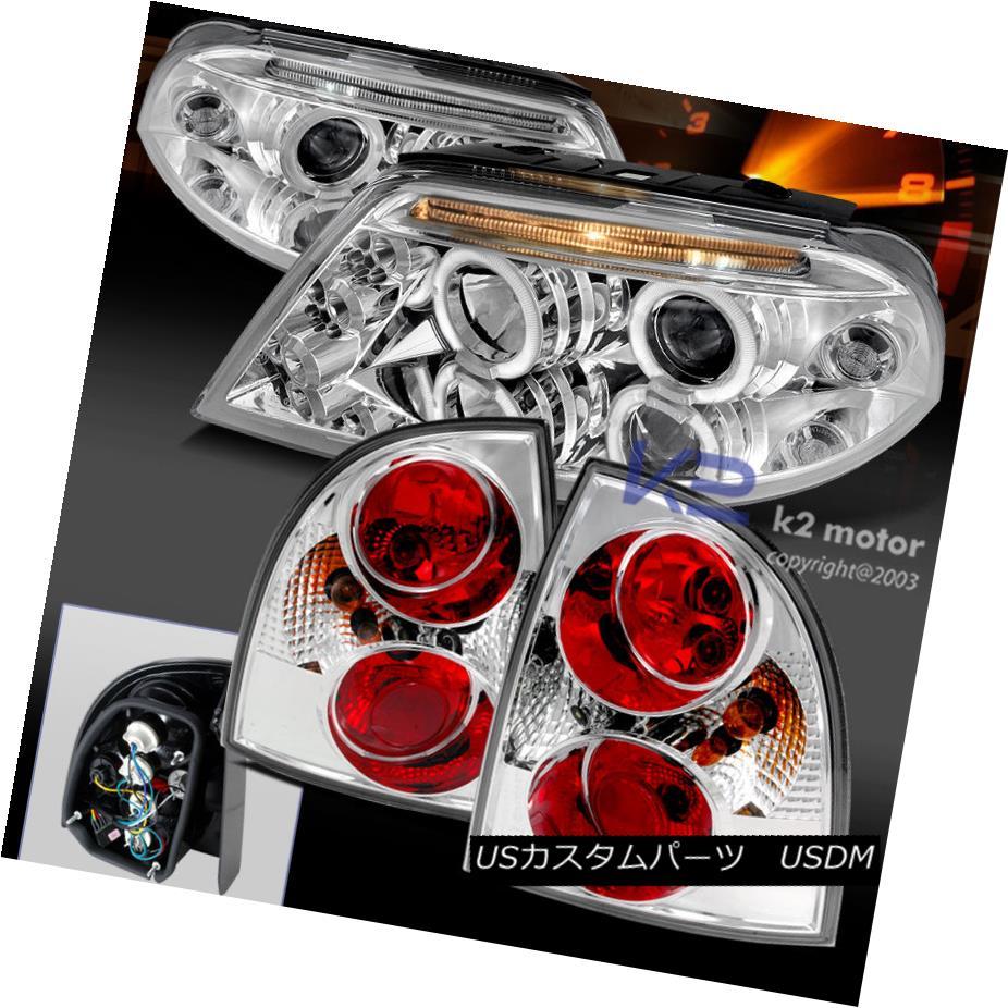テールライト Fit 01-05 VW Passat LED DRL Halo Projector Chrome Headlights+Clear Tail Lamps フィット01-05 VWパサートLED DRLハロープロジェクタークロームヘッドライト+ Cle arテールランプ