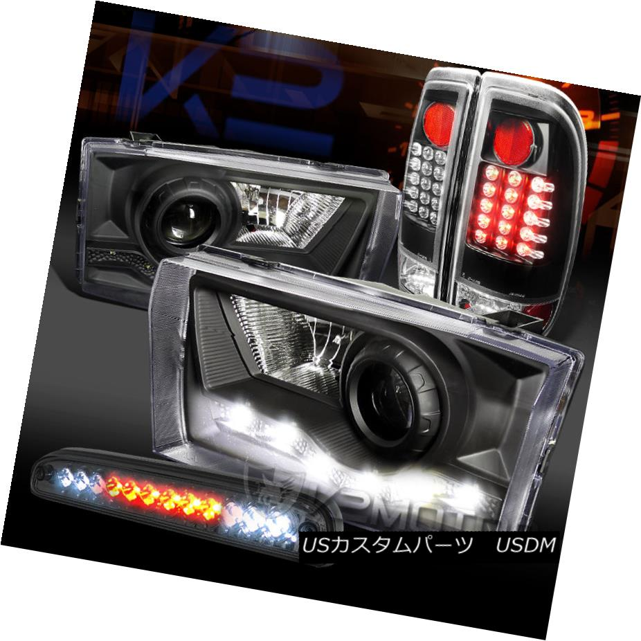 テールライト 99-04 F250 SD Black SMD DRL Projector Headlight+LED Tail Lamps+LED 3rd Brake 99-04 F250 SDブラックSMD DRLプロジェクターヘッドライト+ LEDテールランプ+ LED第3ブレーキ