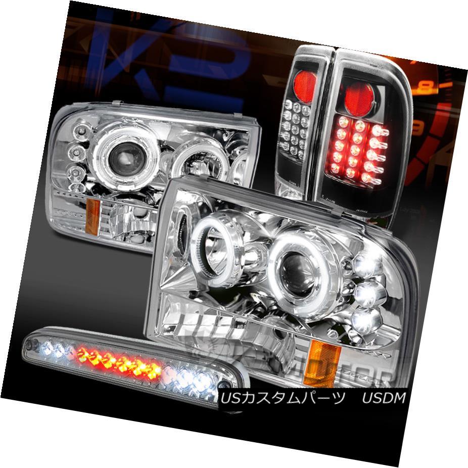 テールライト 99-04 F250 Chrome Halo Projector Headlights+Black LED Tail+Clear LED 3rd Brake 99-04 F250クロームハロープロジェクターヘッドライト+ Bla ck LEDテール+クリアLED第3ブレーキ