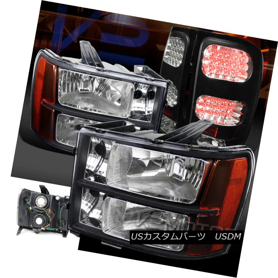 テールライト 07-13 GMC Sierra 1500/2500/3500HD Crystal Black Amber Headlights+LED Tail Lamps 07-13 GMC Sierra 1500/2500/3500 HDクリスタルブラックアンバーヘッドライト+ LEDテールランプ
