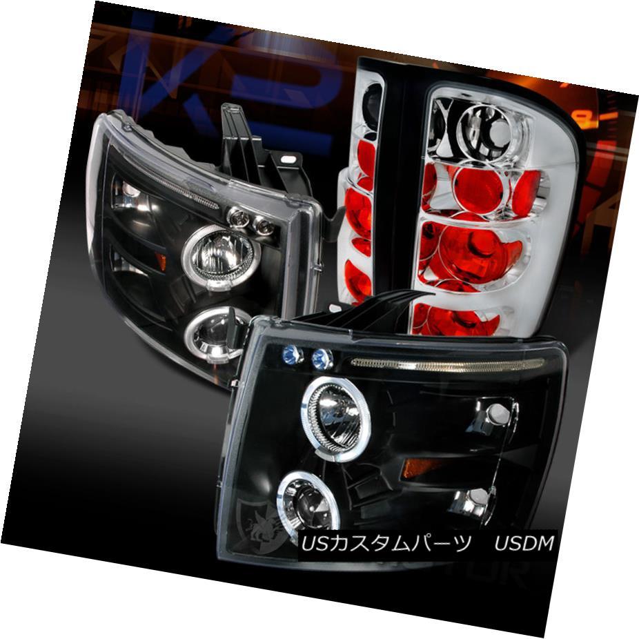 テールライト 07-14 Chevy Silverado 1500 Black LED Halo Projector Headlights+Clear Tail Lamps 07-14 Chevy Silverado 1500ブラックLEDハロープロジェクターヘッドライト+ Cle arテールランプ