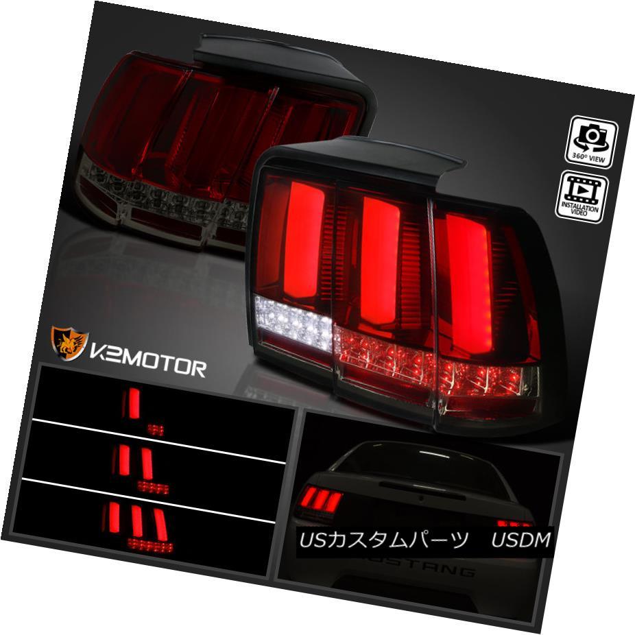 テールライト 1999-2004 Ford Mustang Red/Smoke Lens Sequential LED Tail Lights Brake Lamps 1999-2004フォードマスタングレッド/スモークレンズシーケンシャルLEDテールライトブレーキランプ