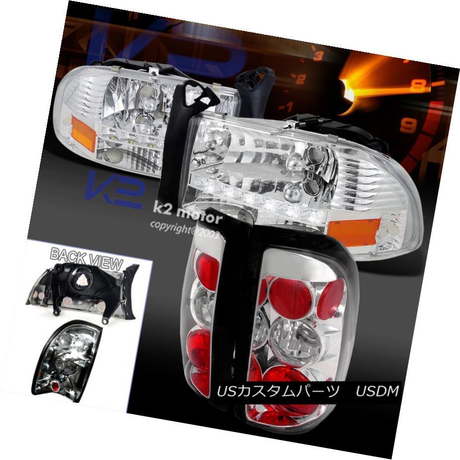 テールライト 97-04 Dodge Chrome Dakota Euro Chrome LED Tail DRL Headlight+Clear 4Pc Rear Tail Lamp 4Pc 97-04ダッジダコタユーロクロームLED DRLヘッドライト+クリーナー rリアテールランプ4枚, 限定価格セール!:92226a5f --- officewill.xsrv.jp