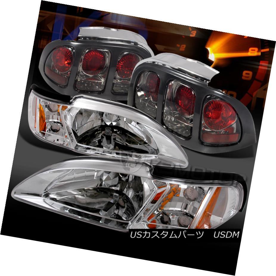 テールライト 1994-1998 Ford Mustang Chrome Headlight Corner Lamps+Smoke Tail Lights 1994-1998 Ford Mustangクロームヘッドライトコーナーランプ+煙テールライト