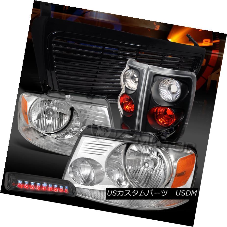 テールライト 04-08 F150 Chrome Headlights+Smoke LED 3rd Brake+Black Tail Lamps+Billet Grille 04-08 F150クロームヘッドライト+スモーキー ke LED第3ブレーキ+ブラックテールランプ+ビレットグリル