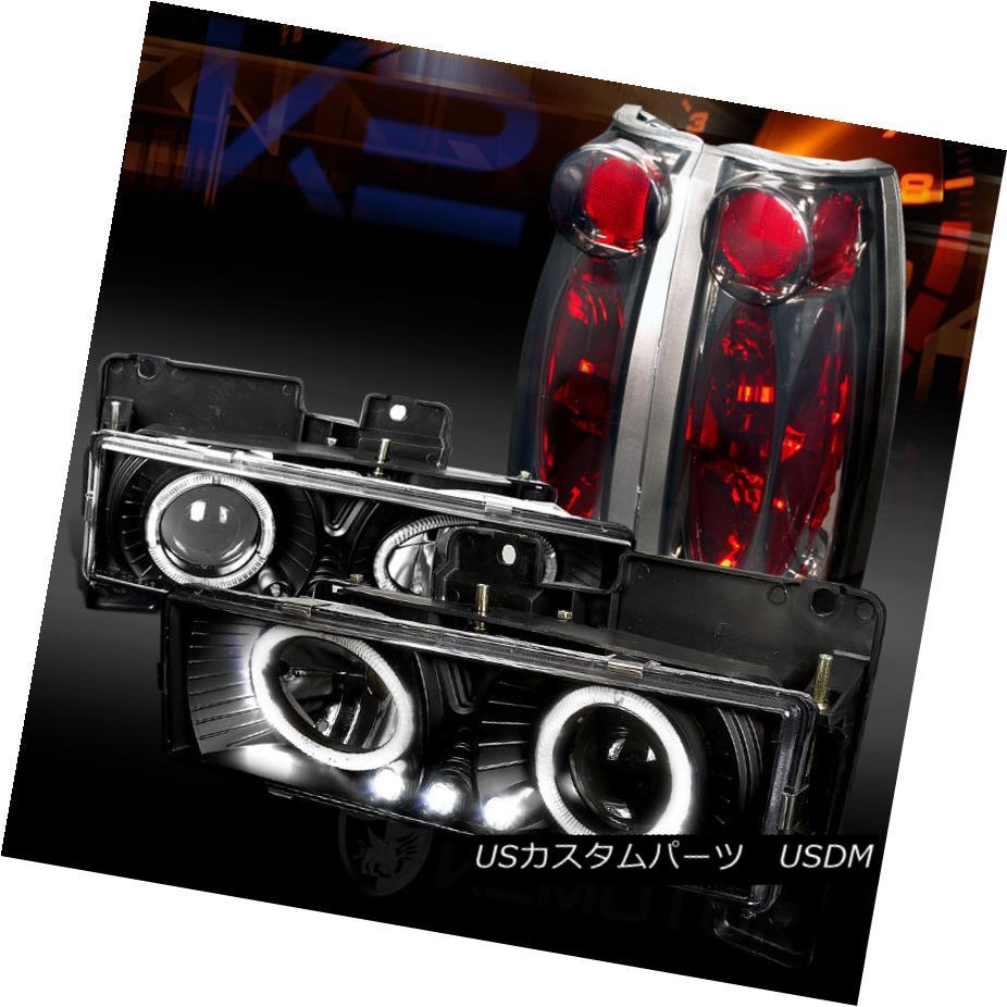 テールライト 88-98 Chevy C/K Pickup Black Halo LED Projector Headlights+Smoke Tail Lamps 88-98 Chevy C / KピックアップブラックハローLEDプロジェクターヘッドライト+スモーキー keテールランプ