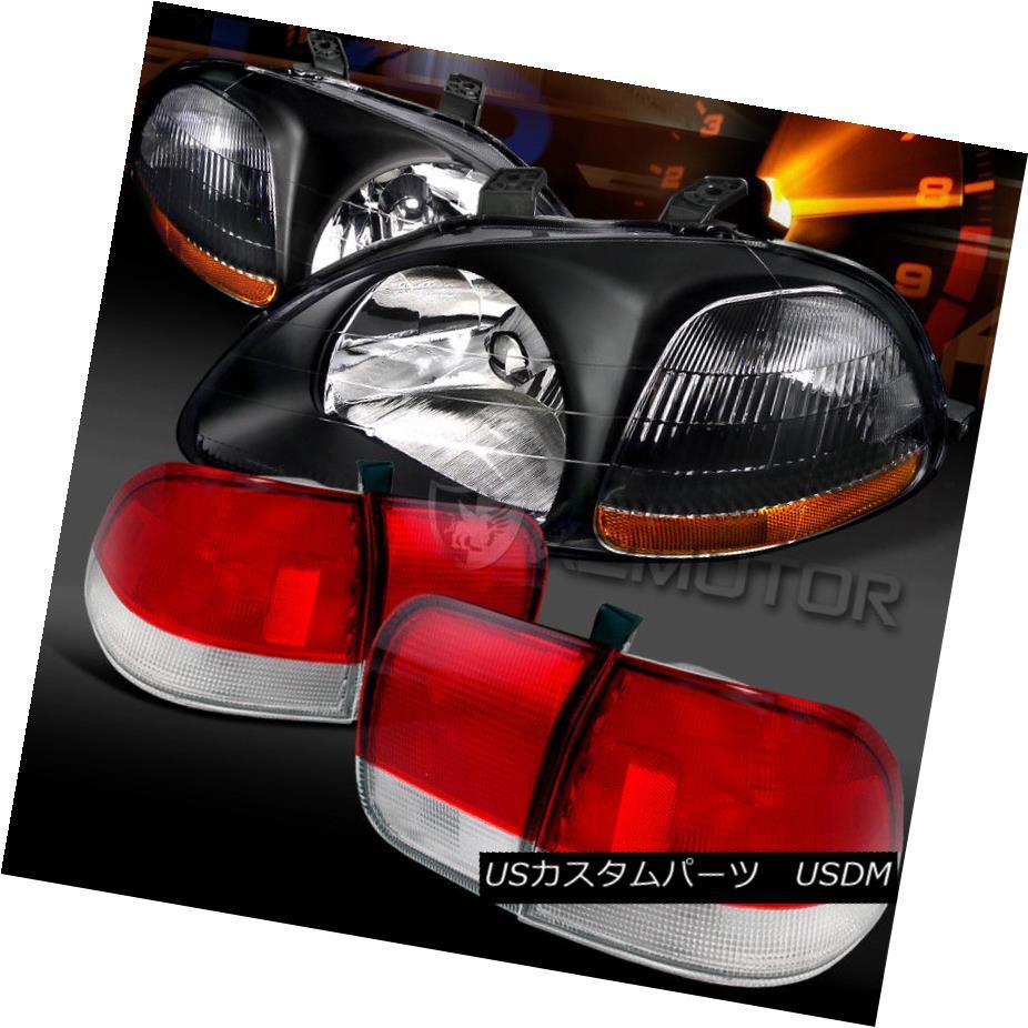 テールライト For 96-98 Honda Civic 4DR Sedan Black Headlights+Red/Clear Tail Brake Lamps 96-98ホンダシビック4DRセダンブラックヘッドライト+レッド /クリアテールブレーキランプ