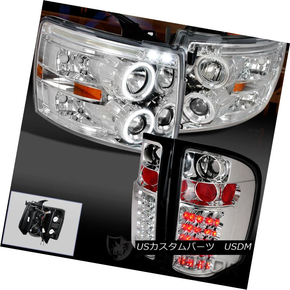 テールライト 07-14 CHEVY SILVERADO HALO LED PROJECTOR HEADLIGHTS CHROME+CLEAR LED TAIL LAMPS 07-14 CHEVY SILVERADOハローLEDプロジェクターヘッドライトクローム+クリアテールランプ
